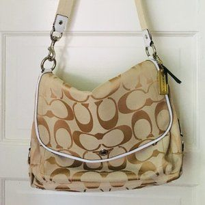 Coach Kyra Daisy Beige Canvas Messenger Bag